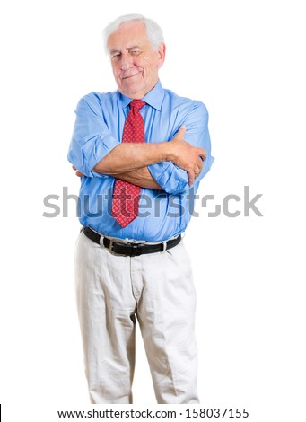 A close-up portrait of a senior executive, elderly man, grandfather with a very skeptical attitude, isolated on a white background. Human personalities and emotions, interpersonal conflict resolution. - stock photo