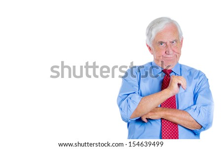 A close-up portrait of an elderly executive, boss, corporate employee showing some disbelief to an argument his opponent proposed him, isolated on white background with copy space. Conflict resolution - stock photo