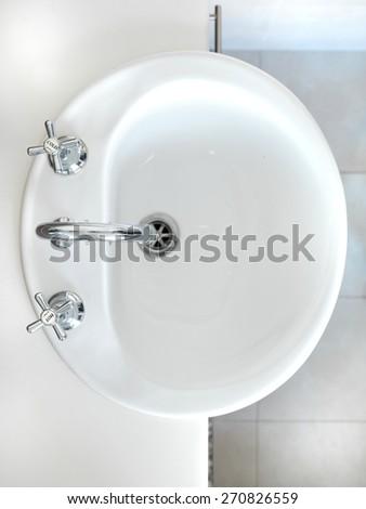 A close up shot of a bathroom setup - stock photo