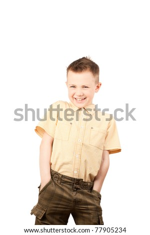 A close-up shot of a boy laughing, isolated on a white - stock photo