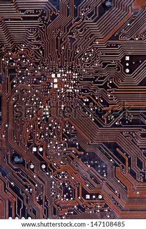 A close up shot of a computer motherboard. - stock photo