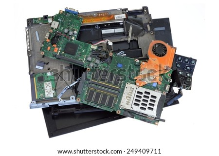 A close up shot of a damaged laptop - stock photo