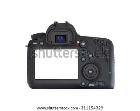 A close up shot of a digital SLR camera - stock photo
