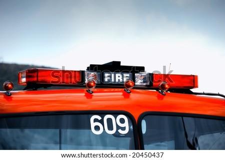 a close up shot of a fire engine lights - stock photo