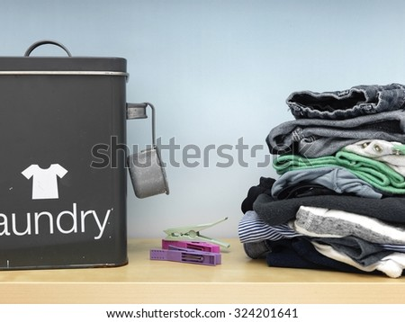 A close up shot of a laundry tin - stock photo