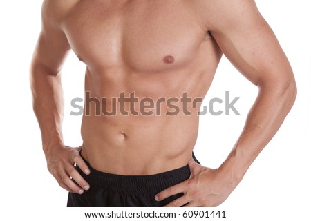 A close up shot of a mans upper body below the neck. - stock photo