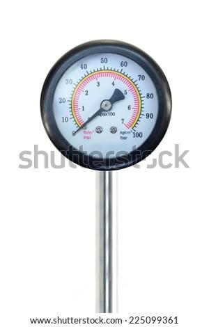 A close up shot of a pressure gauge - stock photo
