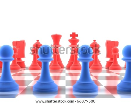 A close-up shot of a set of chess pieces, with focus on the distance - stock photo