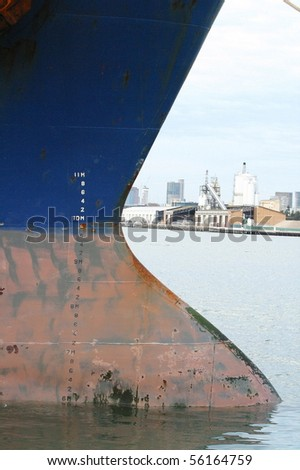A close up shot of a ship at the Melbourne Docks