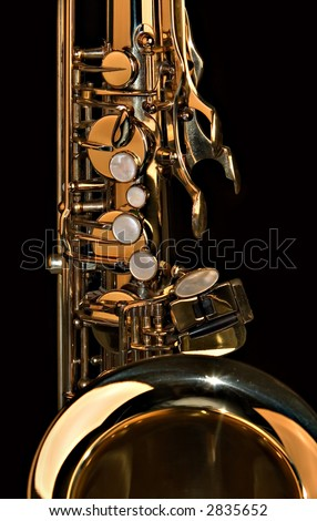 A close up shot of a tenor sax - stock photo