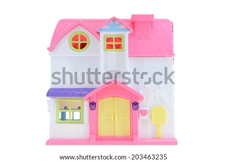 A close up shot of a toy doll house - stock photo