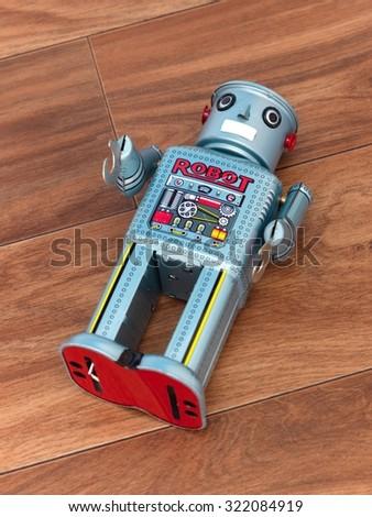 A close up shot of a toy metal robot - stock photo