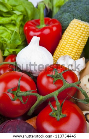 A close up shot of a variety of Vegetables. - stock photo
