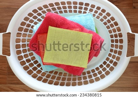 A close up shot of a washing basket - stock photo