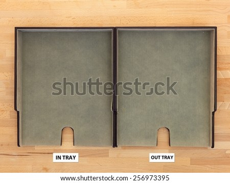 A close up shot of an office work tray - stock photo