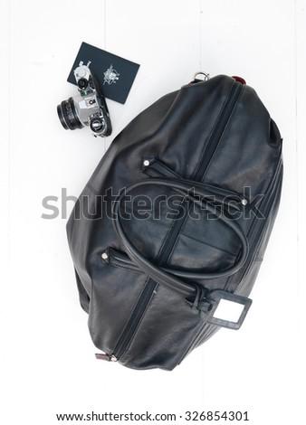 A close up shot of an overnight travel bag - stock photo