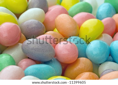 A close up shot of easter eggs