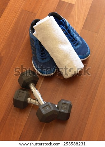 A close up shot of exercise equipment - stock photo