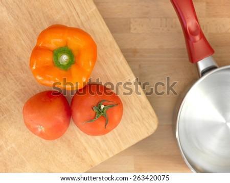 A close up shot of food preparation - stock photo