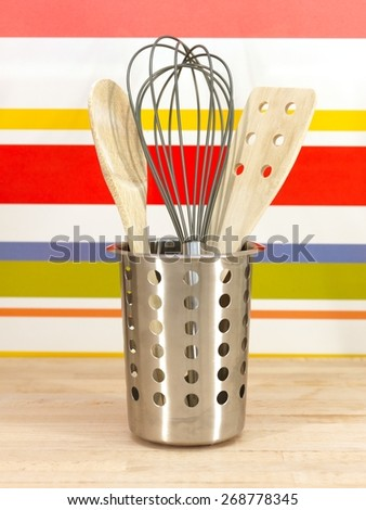 A close up shot of kitchen items on a kitchen bendh - stock photo