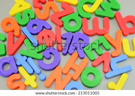 A close up shot of magnetic letters - stock photo