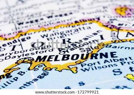 a close up shot of Melbourne on map, Australia. - stock photo