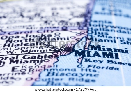 a close up shot of miami on map, united states. - stock photo