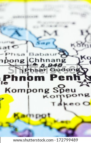 a close up shot of Phnom Penh on map, capital of Cambodia. - stock photo