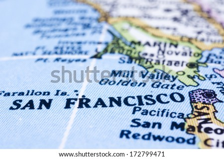 a close up shot of San Francisco on map, united states. - stock photo