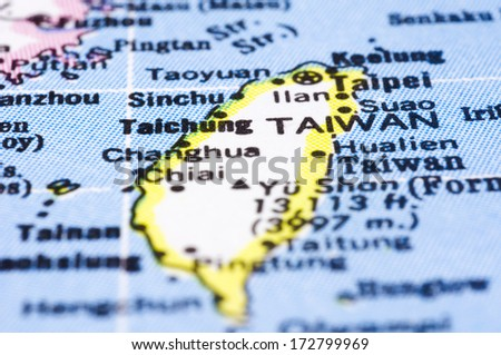 a close up shot of Taiwan on map, asia. - stock photo