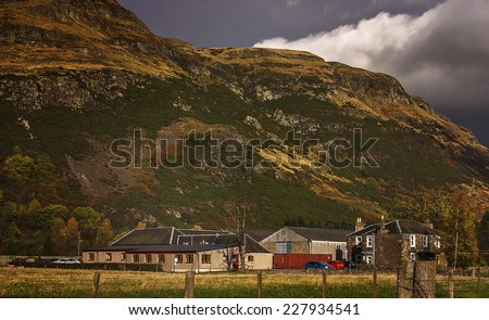 A Close up shot of the Ochil Hills in Menstrie - stock photo