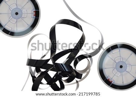 A close up shot of VHS Internal ribbon tape - stock photo