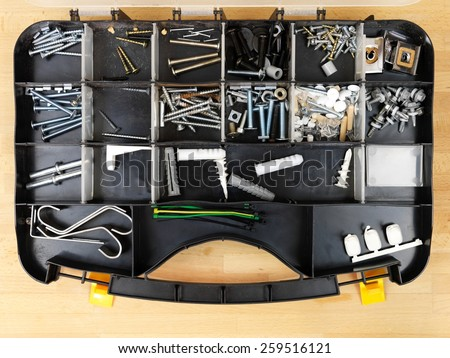 A close up shot of workshop  tidy case - stock photo
