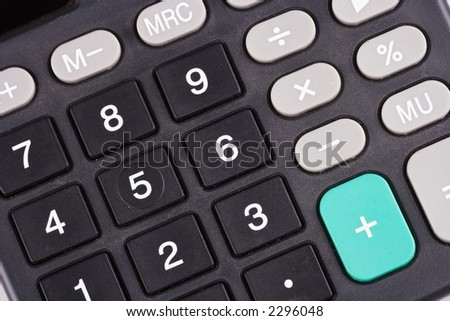 A close up shot on calculator keypad.
