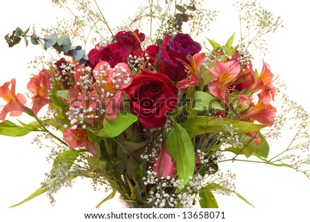 A close-up view of a bouquet of flowers, isolated on a white background - stock photo