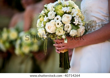 A close up view of a bride's hands and bouquet with the bridal party in the background