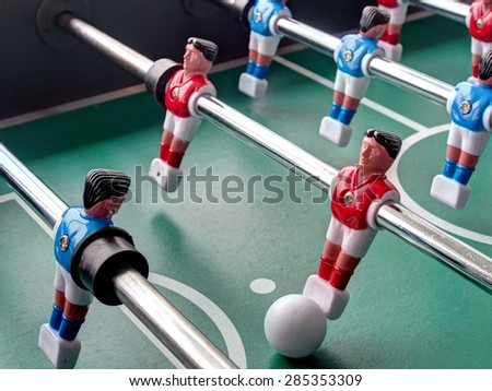 A close-up view of a Foosball table   - stock photo