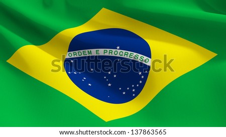 A close up view of the flag of BraZil. Fabric texture visible at 100%.