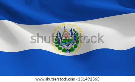 A close up view of the flag of El Salvador with fabric texture visible at 100%.  - stock photo
