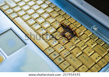 A close view of some keys on a dirty / Old keyboard - stock photo