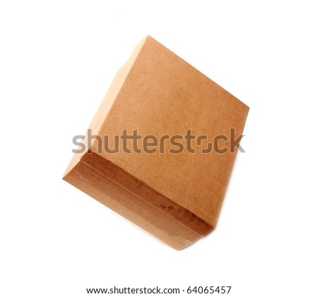 A closed cardboard box, image is taken over a white background - stock photo
