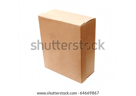 A closed cardboard box, image is taken over a white background