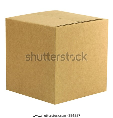 A closed cardboard box with workpath - stock photo