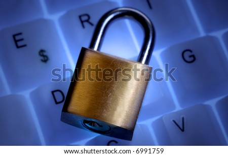 A closed lock on a keyboard