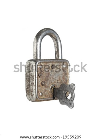A closed lock with a key isolated on white background.