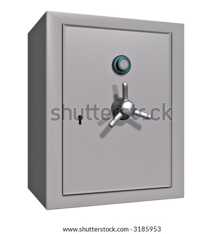 A closed safe isolated on white - stock photo
