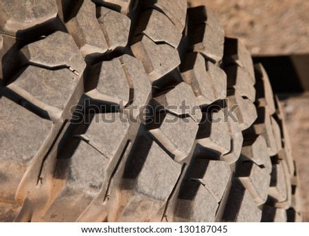 A closed up view of mud terrain tire. - stock photo