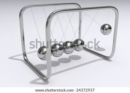 A closeup 3D render of Newtons Cradle - stock photo