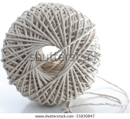 a closeup macro image of a ball of string - stock photo