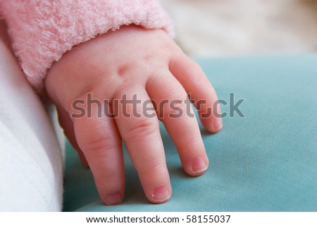 A closeup of a baby's hand